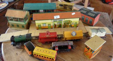 O gauge Hornby type 20 locomotive, 4 rolling stock, tinplate station with platforms, signal box