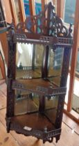 Victorian mahogany corner shelves with mirrored backs and galleries
