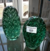 Two Nailsea green glass dumps