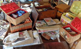 Good assortment of sewing boxes, inc. wickerwork and wood, and knitting patterns etc.