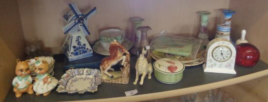 Assorted pottery and china ornaments etc., including glass paperweights and Wedgwood clock