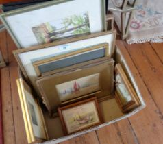 Quantity of framed watercolours, inc. a marine watercolour signed Sores