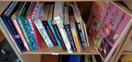 Assorted glossy books on rock and pop music