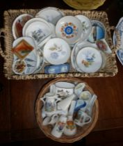 Assorted Goss china, china pin trays and spoons, inc. Royal Worcester and Wedgwood
