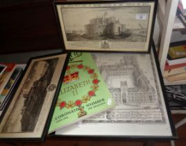 Three 19th c. steel engravings of Dover Castle and Walmer Castle, a Country Life 1953 Coronation