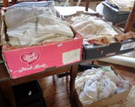 Three boxes of assorted lacework and linen