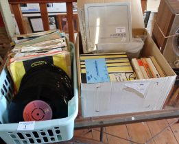 Collection of vinyl singles (70's and 80's) - 2 boxes