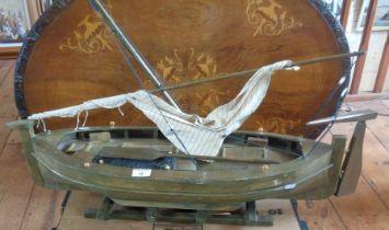 Wooden model of a sailing fishing boat (Bristol Bay Monkey boat?) or Maltese Luzzu