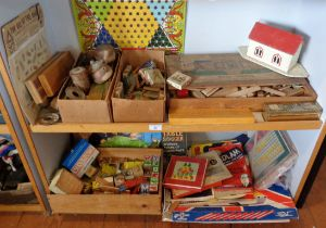 Large collection of wooden and other games, inc. Victorian block puzzles and building blocks, etc.