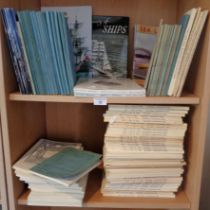 """Large quantity of """"Mariners Mirror"""", """"The Naval Review"""", c.1970's and other naval books (2 shelves)"""