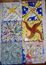 "Set of six ceramic tiles - ""La Suite Catalane"", designed by celebrated Surrealist artist Salvador"