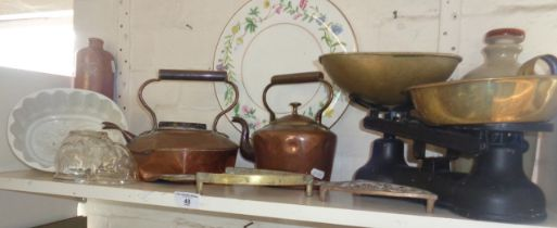 Copper kettles, kitchen scales, jelly moulds, a Royal Worcester Arcadia cheese plate, etc.