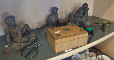 Four bronzed resin figurines, a brass inlaid walnut cigarette box and other items