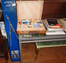 Windsor & Newton 'Dart' sketching easel and a paintbox, etc.