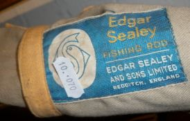 An Edgar Sealey Black Arrow three-part float rod and a Gemko coarse fishing rod with bags