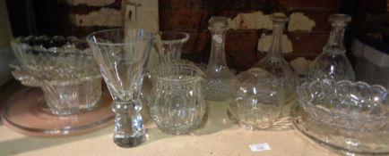 Assorted glassware inc. decanters etc.
