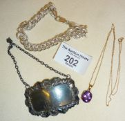 9ct gold chain with amethyst pendant, silver decanter label and a 925 silver bracelet