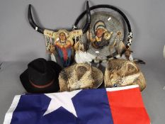 Lot to include a Texas State flag, approximately 85 cm x 145 cm,