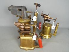 Three brass blow lamps to include a Max Sievert Vapouria No 15, a Clayton & Lambert,