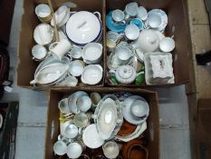 A mixed lot of ceramics to include Shelley, Royal commemorative, Myott and similar, three boxes.