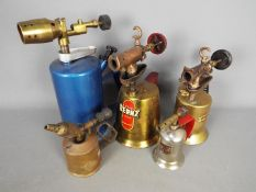 Five vintage blow lamps to include Merit, Otto Bernz, Turner Brass Works and similar.