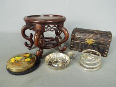 Lot to include a carved Chinese stand, wooden trinket box, silver ashtray (hallmarks unclear),