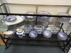A collection blue and white dinner wares to include Meakin, English Ironstone Tableware,