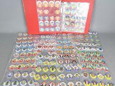 Football Pogs - a folder containing approximately 360 circular collectable cards, season 1995 - 96,