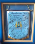Signed Manchester City Football Pennant.