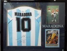 Diego Maradona (1960 - 2020) - A framed sporting montage comprising an Argentina 1986 replica shirt