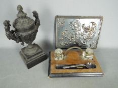 Lot to include a desk tidy with two glass inkwells, a Samtico Art Metal Work blotter pad,