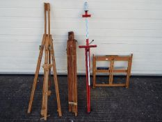 A collection of sketching easels and similar to include an Italian made metal example and other.