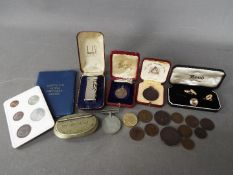 A small mixed lot of collectables to include a small quantity of coins, Victorian and later,