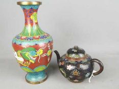 A cloisonné vase with depiction of a dragon chasing the flaming pearl and a cloisonné teapot with