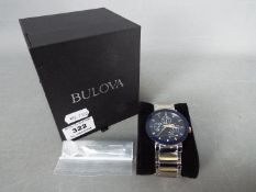 A gentleman's Bulova ceramic faced chronograph wristwatch