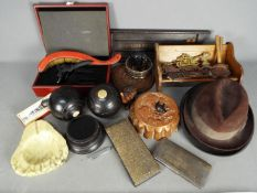 A mixed lot of collectables to include treen, vintage hats, jelly mould, plated cigarette case,