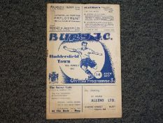 Bury F C - a matchday football programme 14th March 1953, Bury F C v Huddersfield Town, intact,