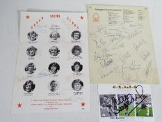 Original Autographs - a Nottingham Forest headed letterhead (manager Brian Clough) ca 1980 bearing
