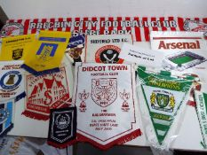 Football - a good collection of memorabilia to include Pennants, player postcards, scraves, badges,