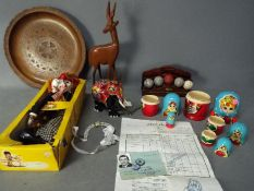 A mixed lot to include treen, boxed Pelham Puppet 'Bimbo', golf ball letter rack and similar.