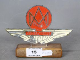 Automobilia - Aston Martin Owners Club car badge on wooden base, approximately 11 cm (h).