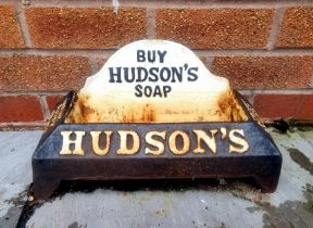 Advertising - a cast iron Hudsons Soap dog water trough
