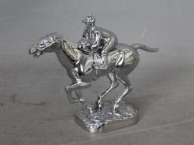Automobilia - A Desmo car mascot in the form of a horse and jockey, chrome finish, approximately 10.