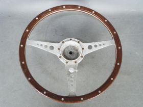 "Automobilia - Jaguar: A wood rimmed 15"" (38 cm) E Type steering wheel."