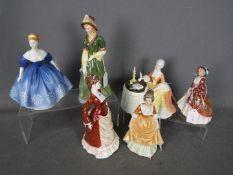 Three Royal Doulton figurines comprising Meditation HN2330, Paisley Shawl HN1988 and Nina HN2347,