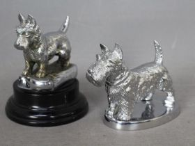 Automobilia - A Desmo, chrome plated car mascot in the form of a Scottish Terrier, approximately 7.