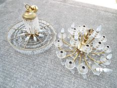 Two modern chandeliers, approx 60 cm (diam) with a bag of loose drops.