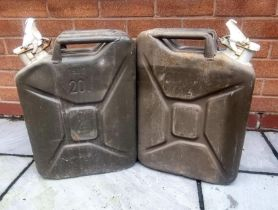 Military - two British Army surplus 20 litre Jerry cans marked W for water use and dated