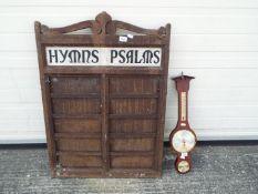 A church Hymn and Psalms board, approx 86cm x 62cm,