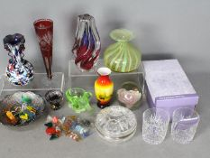 A collection of glassware to include art glass vase, cut to clear glassware, Murano glass sweets,
